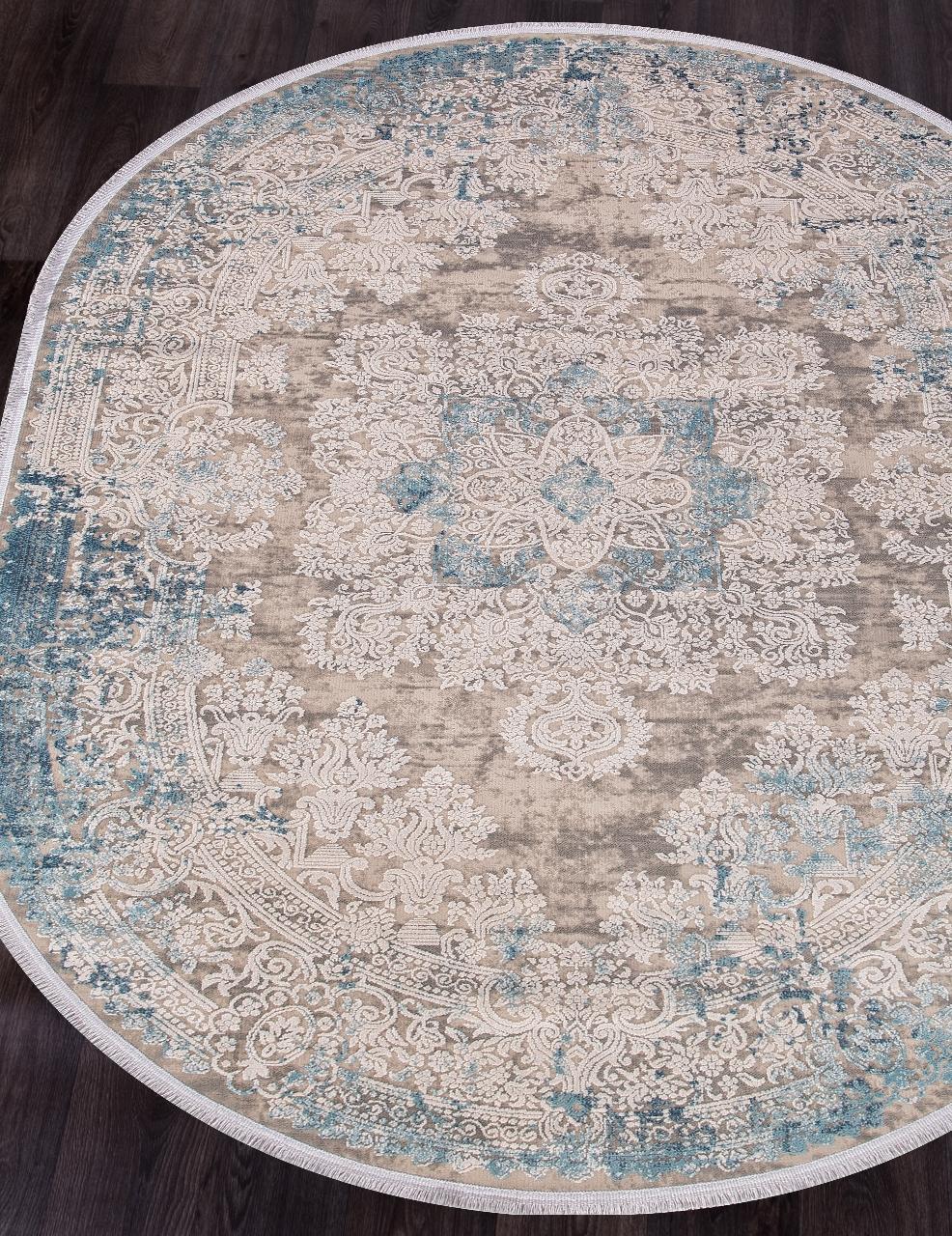 Ковер 9304 - BEIGE / BLUE - Овал - коллекция BIBLOS
