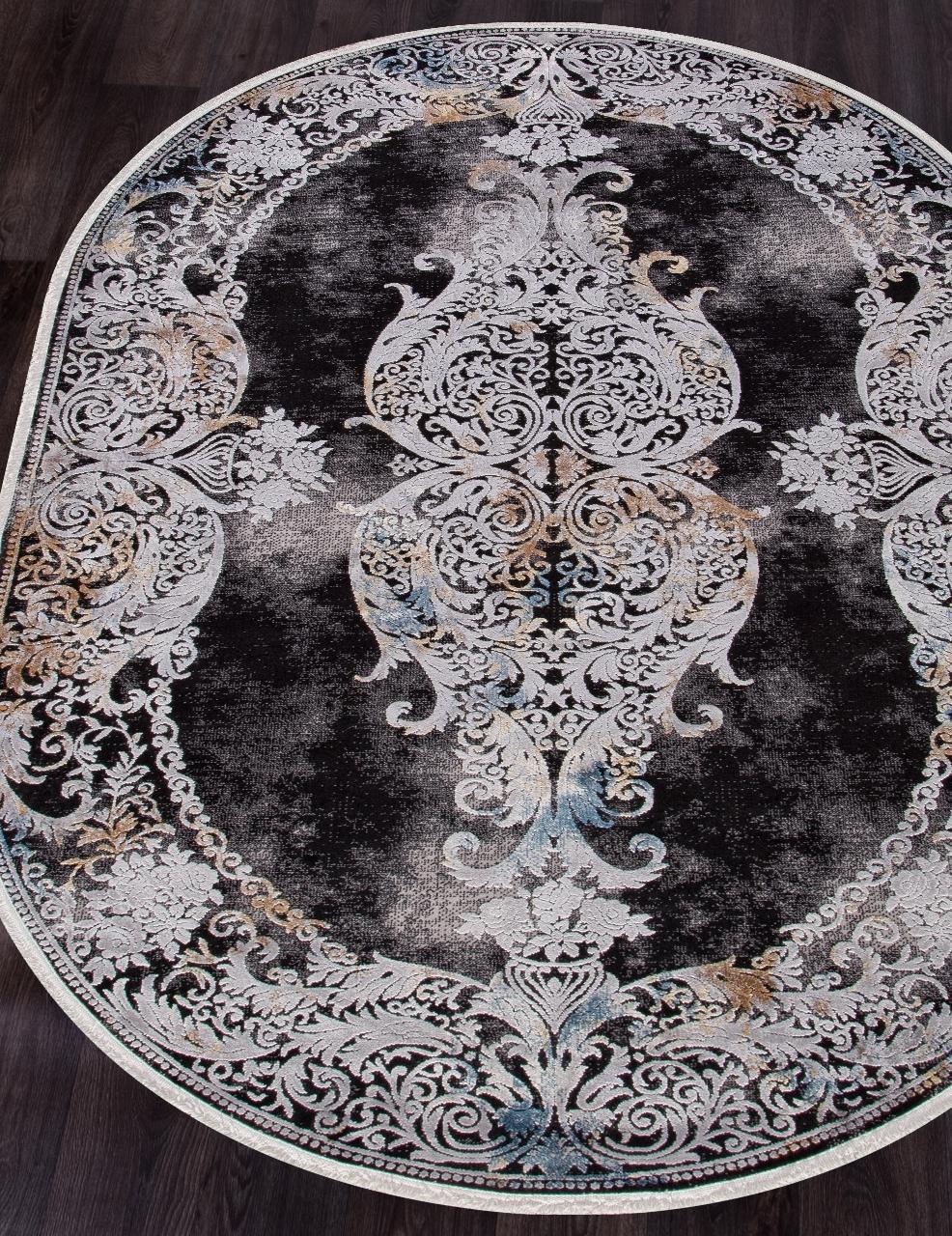 Ковер 18131 - GRAY / BLACK - Овал - коллекция ERVA