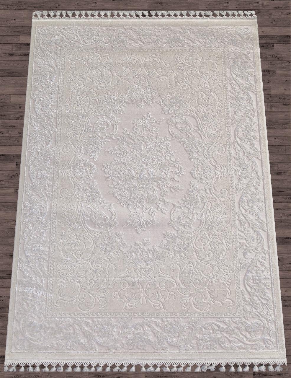 Ковер 8006 - WHITE / WHITE - Прямоугольник - коллекция HUNKAR