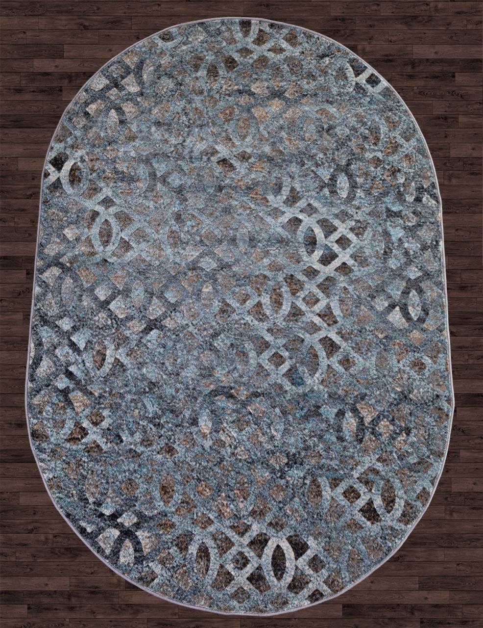 Ковер D563 - BEIGE-BLUE - Овал - коллекция MATRIX