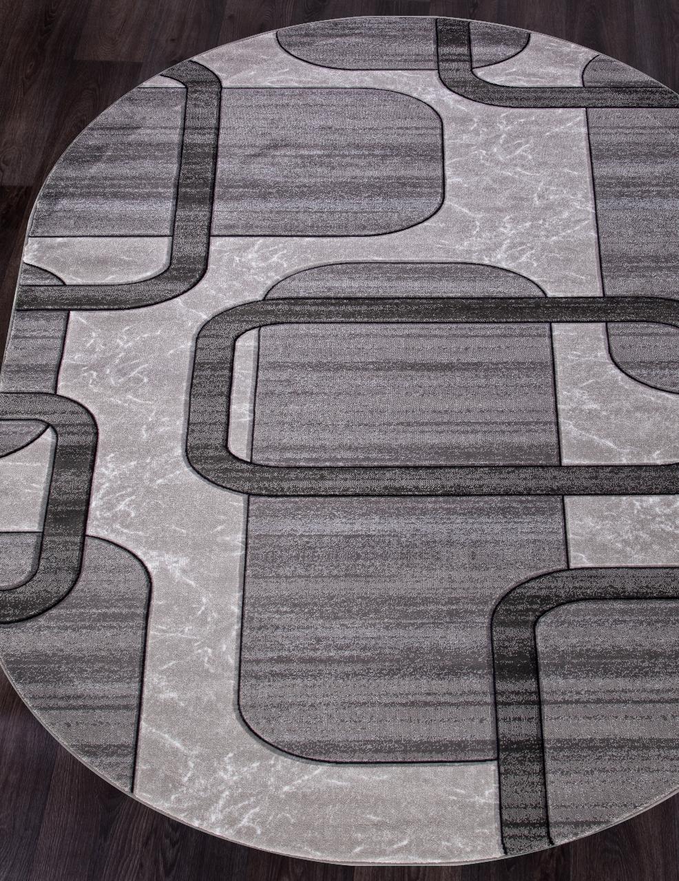 Ковер D465 - LIGHT GRAY - Овал - коллекция MEGA CARVING