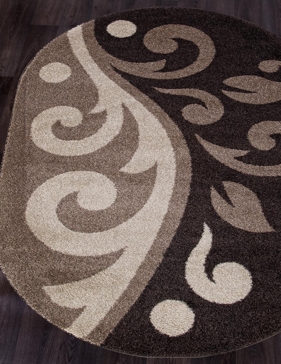 Ковер t621 - D.BEIGE-BROWN - Овал - коллекция PLATINUM