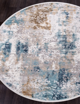 Ковер 12004 - CREAM / BLUE - Круг - коллекция ALLURES