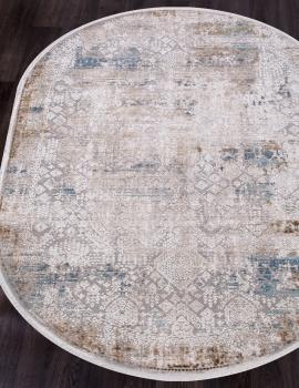 Ковер 12025 - CREAM / BLUE - Овал - коллекция ALLURES