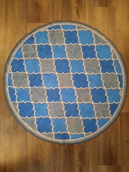 Ковер 21023.102 HANZADE - Голубой - Круг - коллекция Decovilla