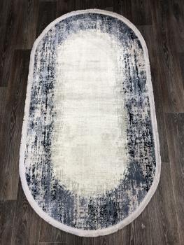 Ковер 9348H - BLUE / CREAM - Овал - коллекция DOKU