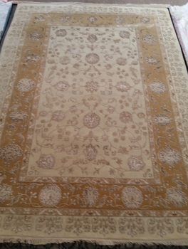 Ковер 818A - IVORY/BROWN - Прямоугольник - коллекция Индия шерсть шелк 14x14