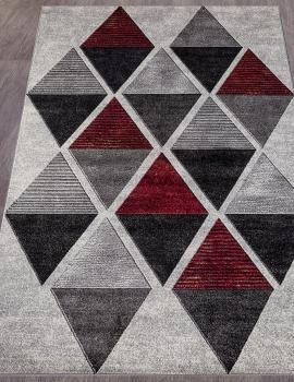 Ковер D810 - GRAY-RED - Прямоугольник - коллекция LONDON