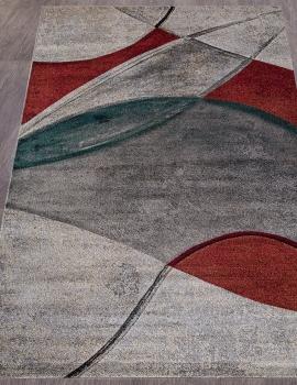 Ковер D827 - GRAY-RED - Прямоугольник - коллекция LONDON