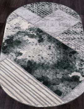 Ковер 5024A - COKEN D.GREY / GREEN - Овал - коллекция MARDAN