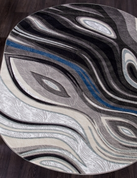 Ковер 1385 - GRAY - Овал - коллекция MEGA CARVING