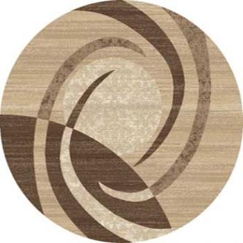 Ковер d264 - BEIGE - Круг - коллекция MEGA CARVING