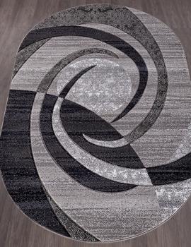 Ковер d264 - GRAY - Овал - коллекция MEGA CARVING