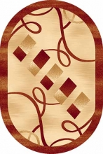 Ковер d054 - BEIGE-RED - Овал - коллекция DA VINCI