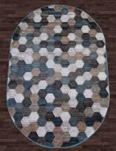 Ковер D579 - BEIGE-BLUE - Овал - коллекция MATRIX